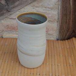 Vase grès mélé intérieur vert